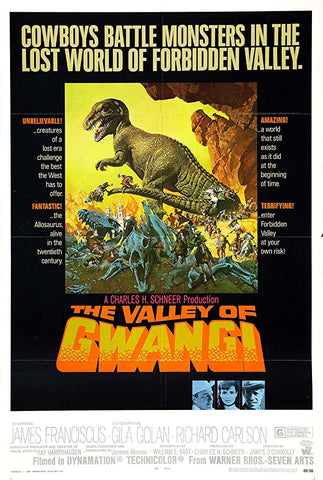 A movie poster by Frank McCarthy for the film The Valley of Gwangi