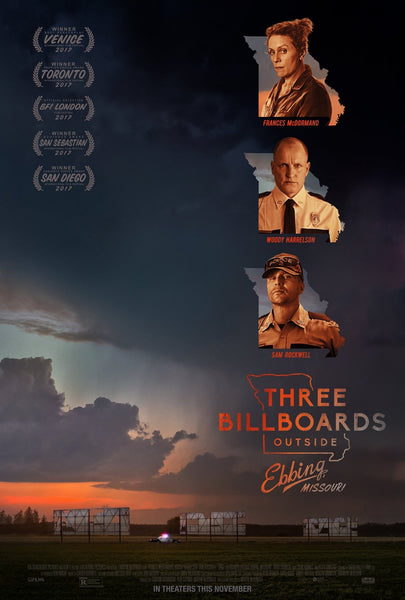 An original movie poster for the film Three Billboards Outside Ebbing Missouri