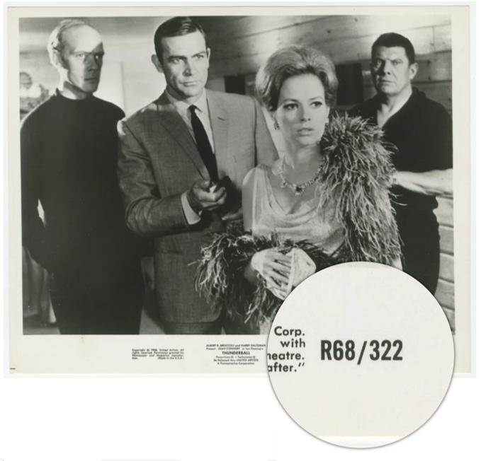 An original theatrical still from the 1968 James Bond movie Thuderball