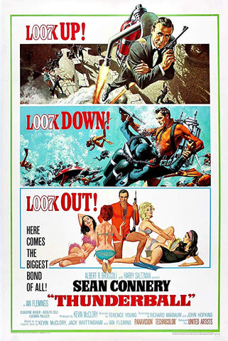 An original movie poster for the James Bond film Thunderball