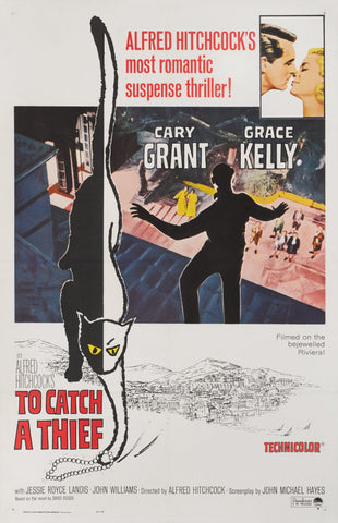 An original movie poster for the Hitchcock film To Catch A Thief