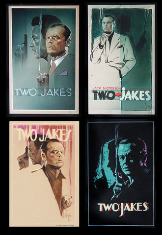 Preparatory sketches for the movie poster for Two Jakes by Steve Chorney