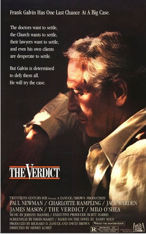 An original movie poster for the film The Verdict by John Alvin