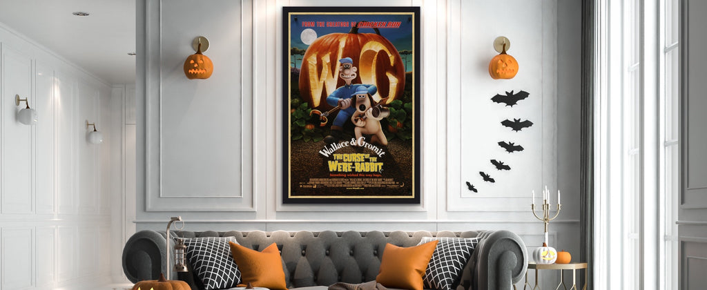 An original Wallace and Gromit movie poster in a Halloween setting