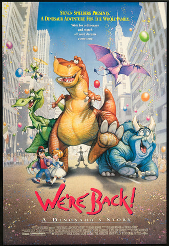 An original movie poster for the film We're Back : A Dinosaur's Story