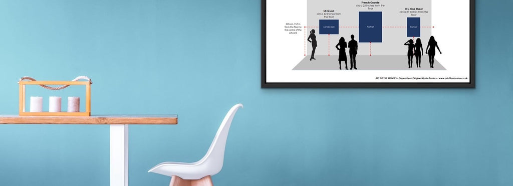 An image of our what height to hang art work Infographic framed and on a wall