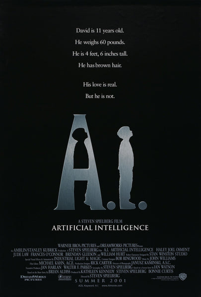 An original movie poster for the film A.I. Artificial Intelligence