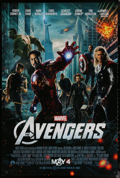 An original movie poster for the Marvel film The Avengers (Assemble)