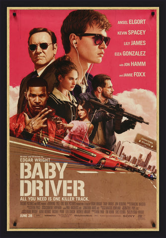 An original movie poster for the film Baby Driver