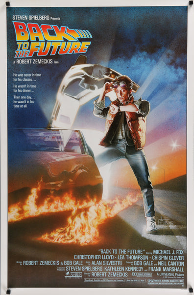 An original movie poster for the film Back To The Future by Drew Struzan
