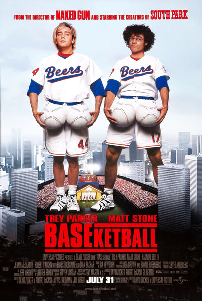An original movie poster for the film BASEketball