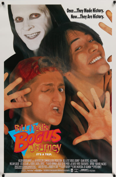 An original movie poster for the film Bill and Ted's Bogus Journey
