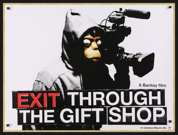 An original movie poster for Banksy's film Exit Through The Gift Shop