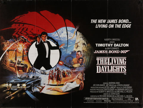 An original movie poster for the James Bond film The Living Daylights