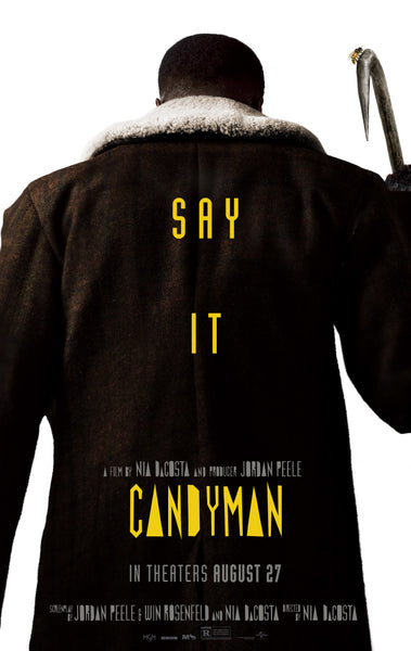 An original movie poster for the 2021 horror film Candyman