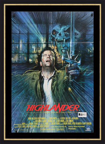 The movie poster for Highlander by Brian Bysouth
