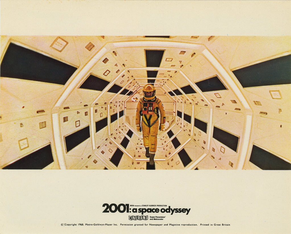 A lobby card showing an image from 2001: A Space Odyssey by Stanley Kubrick