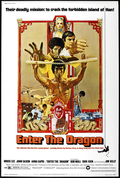 An original movie poster for the Bruce Lee film Enter The Dragon