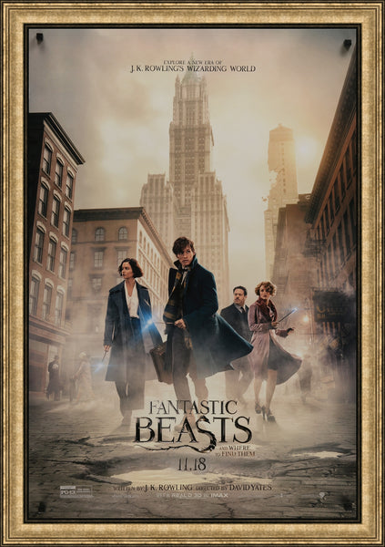 An original one sheet movie poster for the Wizrding World film Fantastic Beasts and Where to Find Them