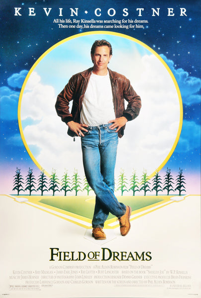 An original movie poster for the Kevin Costner film Field of Dreams
