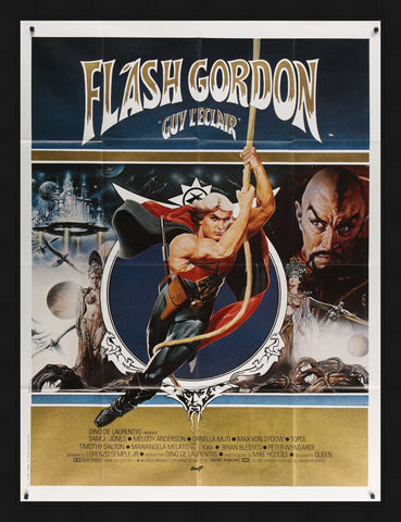 An original French grande movie poster for the film Flash Gordon