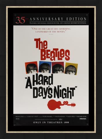 An original movie poster for the Beatles film A Hard Day's Night