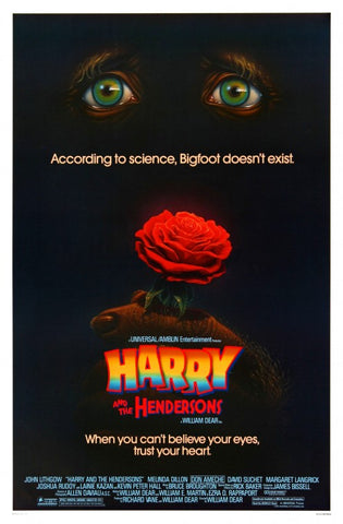 An original movie poster for the film Harry and the Hendersons