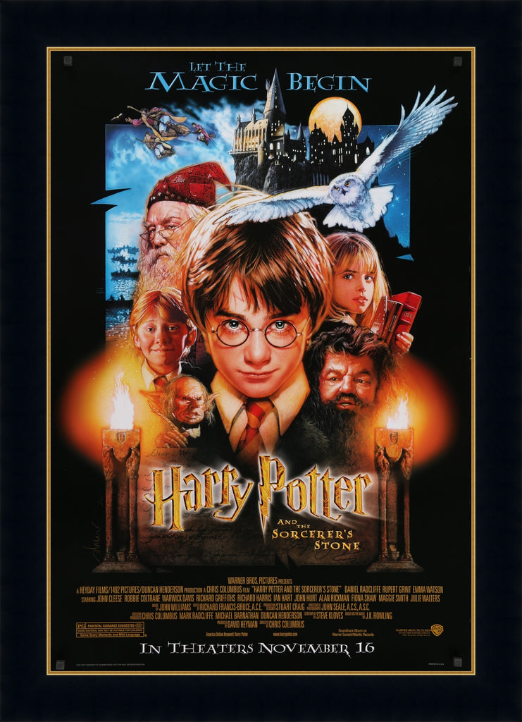 An original movie poster by Drew Struzan for Harry Potter and the Philosopher's Stone