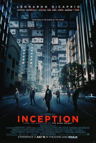 An original movie poster for the Christopher Nolan film Inception