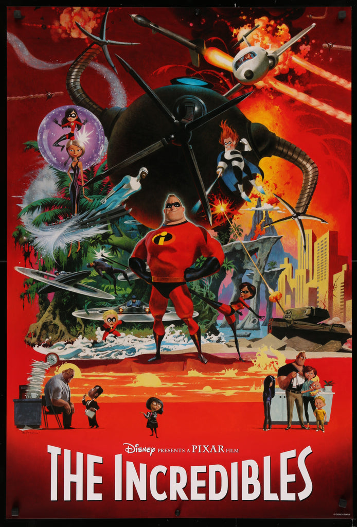 An original movie poster by Robert McGinnis for the Pixar movie The Incredibles