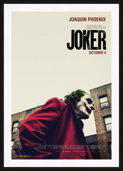 An original Regal movie poster for the film Joker with Joaquin Phoenix
