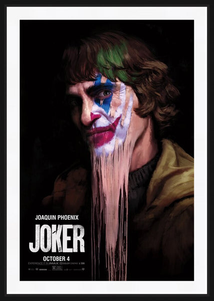 An original movie poster for the film Joker with Joaquin Phoenix