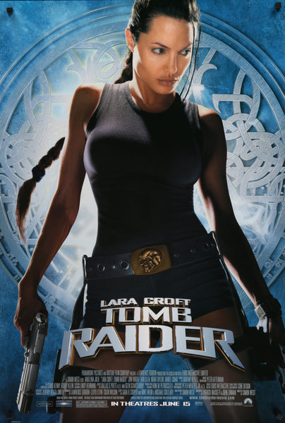 An original movie poster for the film Lara Croft Tomb Raider