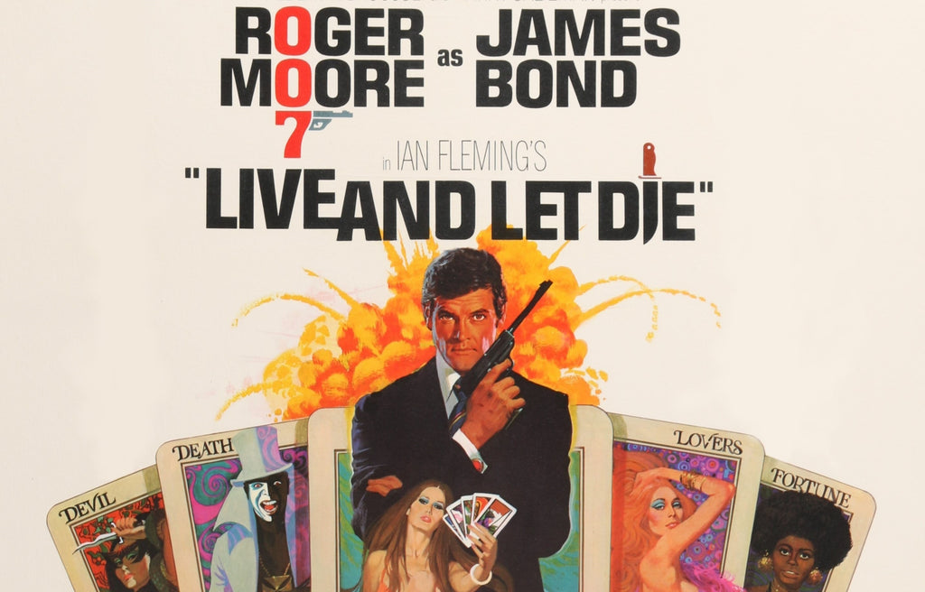 An original movie poster for the James Bond film Live and Let Die with artwork by Robert McGinnis