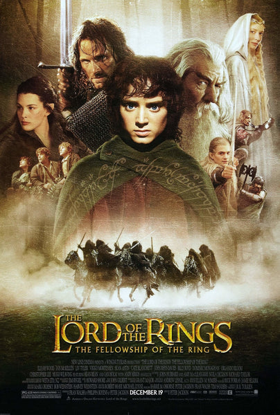 An original movie poster for the film The Lord of Rings Fellowship of the Rings