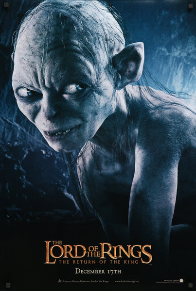 An original movie poster for the Lord of the Rings film franchise showing Gollum