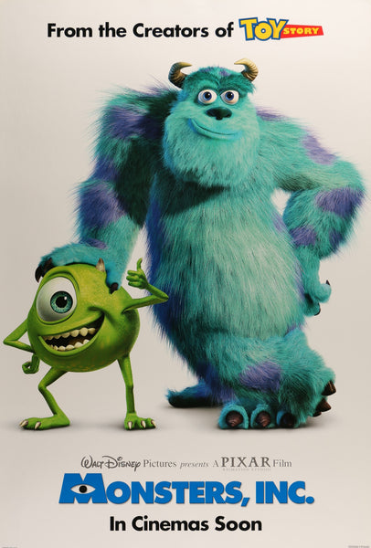 An original movie poster for the Pixar film Monsters Inc