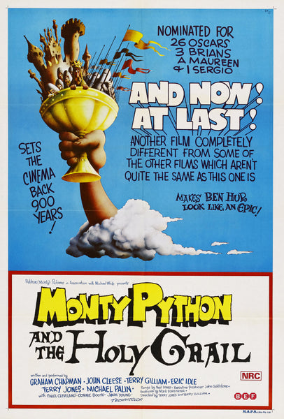 An original movie poster for the film Monty Python and the Holy Grail