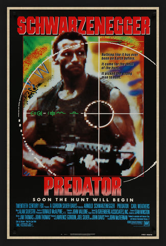 An original movie poster for the film Predator