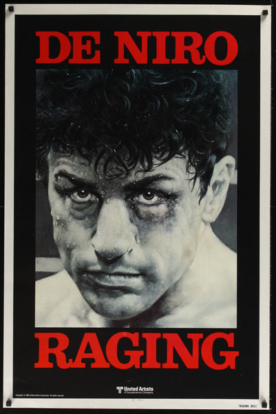 An original movie poster for the film Raging Bull