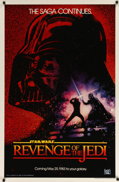 "An original 'revenge style' advance movie poster for the Star Wars film ""Return of the Jedi"""