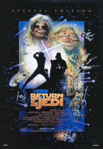 An original movie poster for the Star Wars film Return of the Jedi