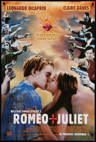 An original movie poster for the film Romeo and Juliet