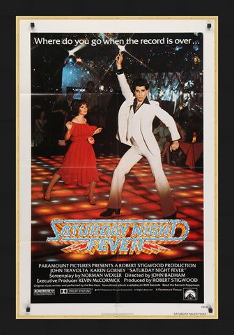 An original movie poster for the film Saturday Night Fever