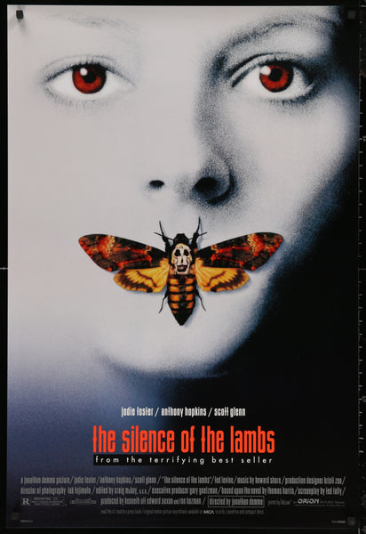 An original movie poster for the film The Silence of the Lanbs
