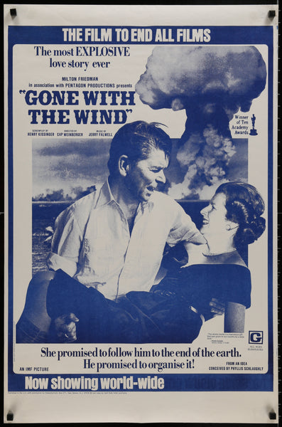 An original parody poster from the 1980s of Gone With The Wind with Ronald Reagan and Margaret Thatcher