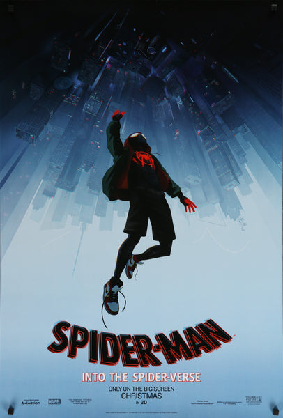 An original movie poster for the film Spider-Man Into The Spider-Verse