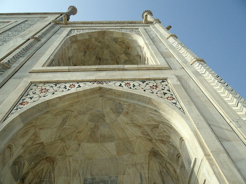A close ip of varved white marble at the Taj Mahal, Agra, India