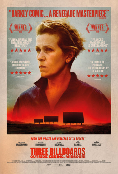 An original movie poster for the film Three Billboards Outside Ebbing, Missouri
