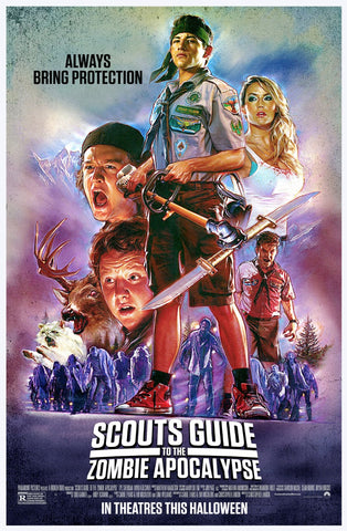 An original movie poster for the film Scouts Guide to the Zombie Apocalypse